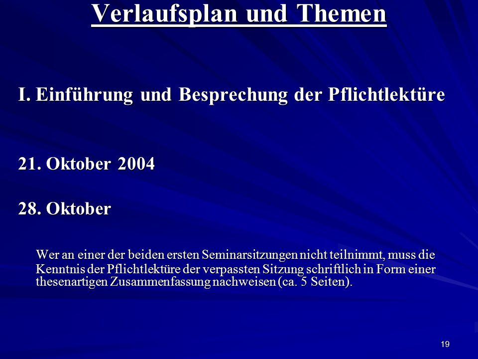 19 Verlaufsplan und Themen I. Einführung und Besprechung der Pflichtlektüre 21. Oktober 2004 28. Oktober Wer an einer der beiden ersten Seminarsitzung
