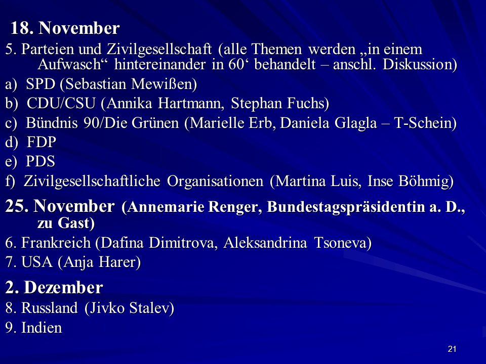 """21 18. November 18. November 5. Parteien und Zivilgesellschaft (alle Themen werden """"in einem Aufwasch"""" hintereinander in 60' behandelt – anschl. Disku"""