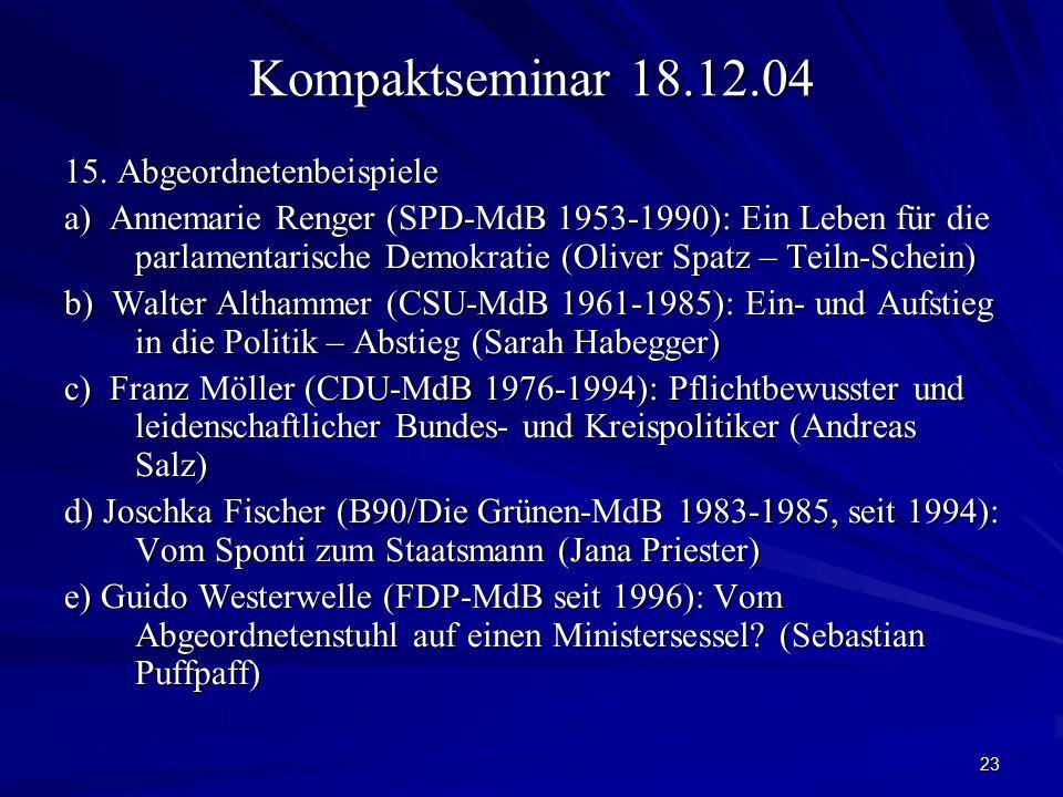 23 Kompaktseminar 18.12.04 15. Abgeordnetenbeispiele a) Annemarie Renger (SPD-MdB 1953-1990): Ein Leben für die parlamentarische Demokratie (Oliver Sp