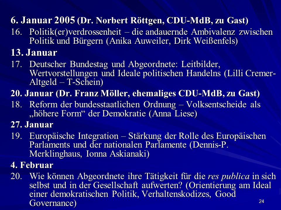 24 6. Januar 2005 (Dr. Norbert Röttgen, CDU-MdB, zu Gast) 16. Politik(er)verdrossenheit – die andauernde Ambivalenz zwischen Politik und Bürgern (Anik