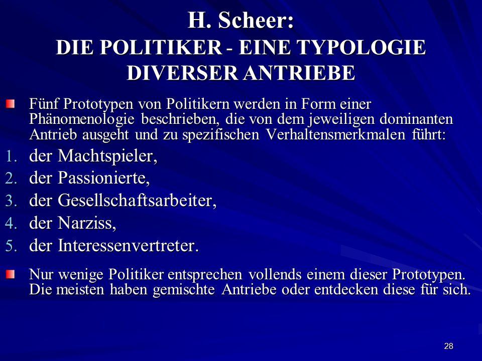 28 H. Scheer: DIE POLITIKER - EINE TYPOLOGIE DIVERSER ANTRIEBE Fünf Prototypen von Politikern werden in Form einer Phänomenologie beschrieben, die von