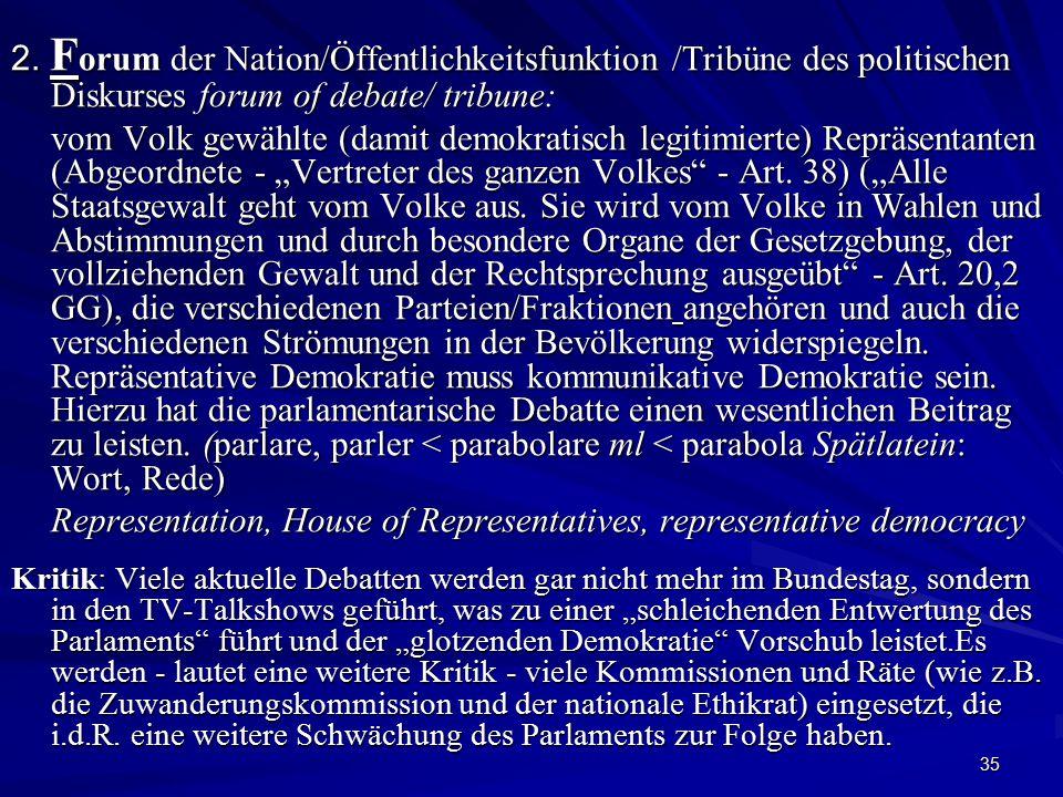 35 2. F orum der Nation/Öffentlichkeitsfunktion /Tribüne des politischen Diskurses forum of debate/ tribune: vom Volk gewählte (damit demokratisch leg