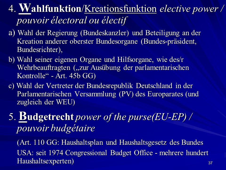 37 4. W ahlfunktion/Kreationsfunktion elective power / pouvoir électoral ou électif a) Wahl der Regierung (Bundeskanzler) und Beteiligung an der Kreat