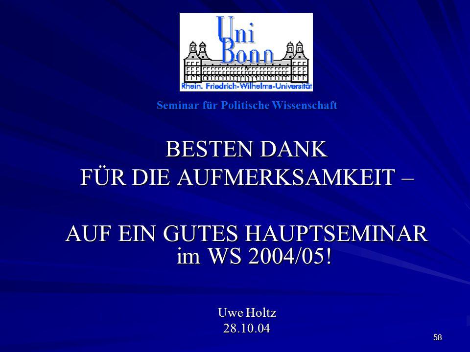 58 Seminar für Politische Wissenschaft BESTEN DANK FÜR DIE AUFMERKSAMKEIT – AUF EIN GUTES HAUPTSEMINAR im WS 2004/05.