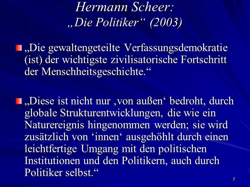 """7 Hermann Scheer: """"Die Politiker"""" (2003) """"Die gewaltengeteilte Verfassungsdemokratie (ist) der wichtigste zivilisatorische Fortschritt der Menschheits"""