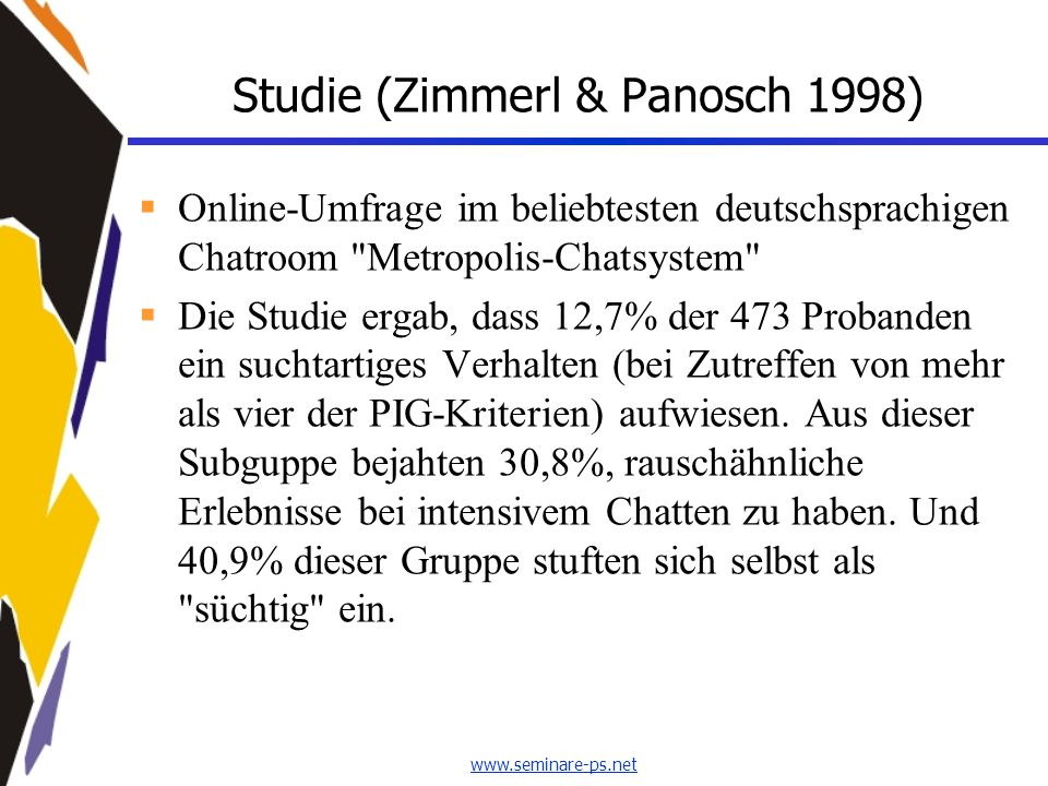 www.seminare-ps.net Studie (Zimmerl & Panosch 1998)  Online-Umfrage im beliebtesten deutschsprachigen Chatroom