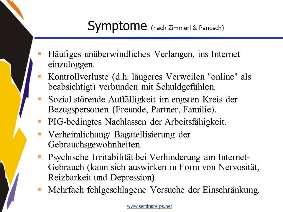 www.seminare-ps.net Symptome (nach Zimmerl & Panosch)  Häufiges unüberwindliches Verlangen, ins Internet einzuloggen.  Kontrollverluste (d.h. länger