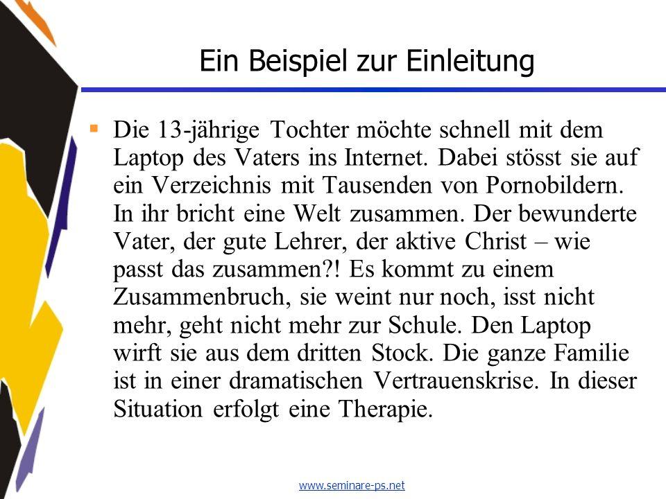 www.seminare-ps.net Ein Beispiel zur Einleitung  Die 13-jährige Tochter möchte schnell mit dem Laptop des Vaters ins Internet. Dabei stösst sie auf e