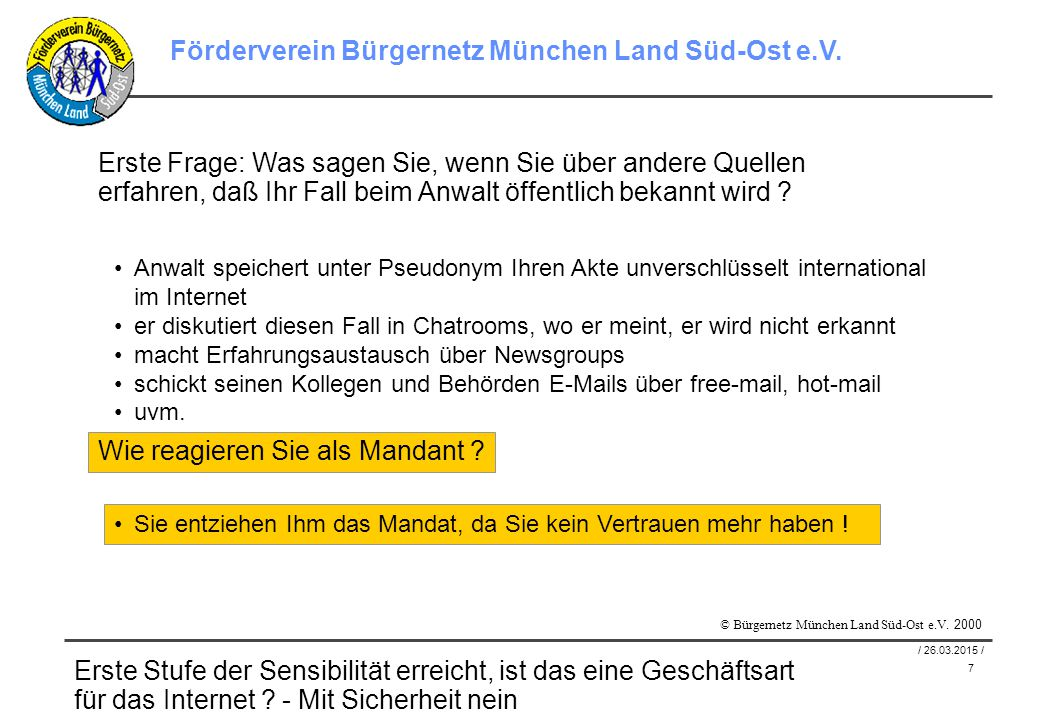 8 / 26.03.2015 / Förderverein Bürgernetz München Land Süd-Ost e.V.