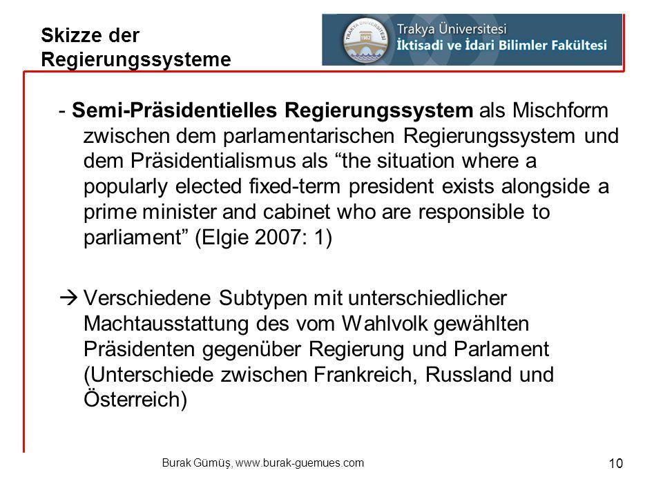 Burak Gümüş, www.burak-guemues.com 10 - Semi-Präsidentielles Regierungssystem als Mischform zwischen dem parlamentarischen Regierungssystem und dem Pr