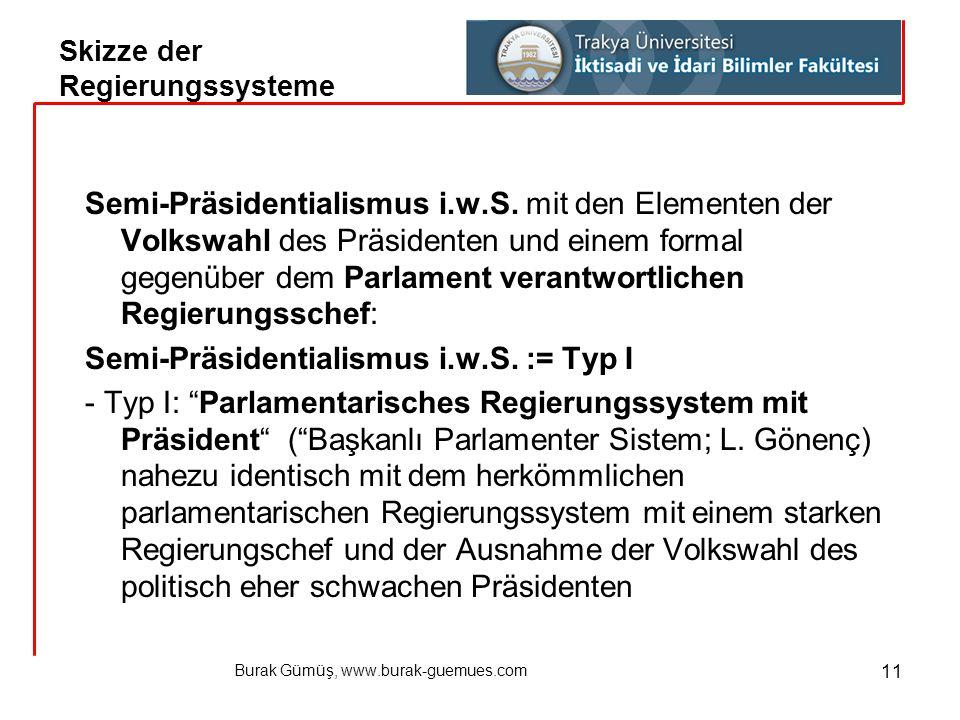 Burak Gümüş, www.burak-guemues.com 11 Semi-Präsidentialismus i.w.S. mit den Elementen der Volkswahl des Präsidenten und einem formal gegenüber dem Par