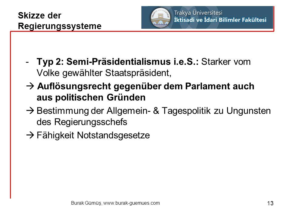 Burak Gümüş, www.burak-guemues.com 13 -Typ 2: Semi-Präsidentialismus i.e.S.: Starker vom Volke gewählter Staatspräsident,  Auflösungsrecht gegenüber