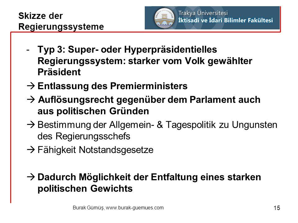 Burak Gümüş, www.burak-guemues.com 15 -Typ 3: Super- oder Hyperpräsidentielles Regierungssystem: starker vom Volk gewählter Präsident  Entlassung des