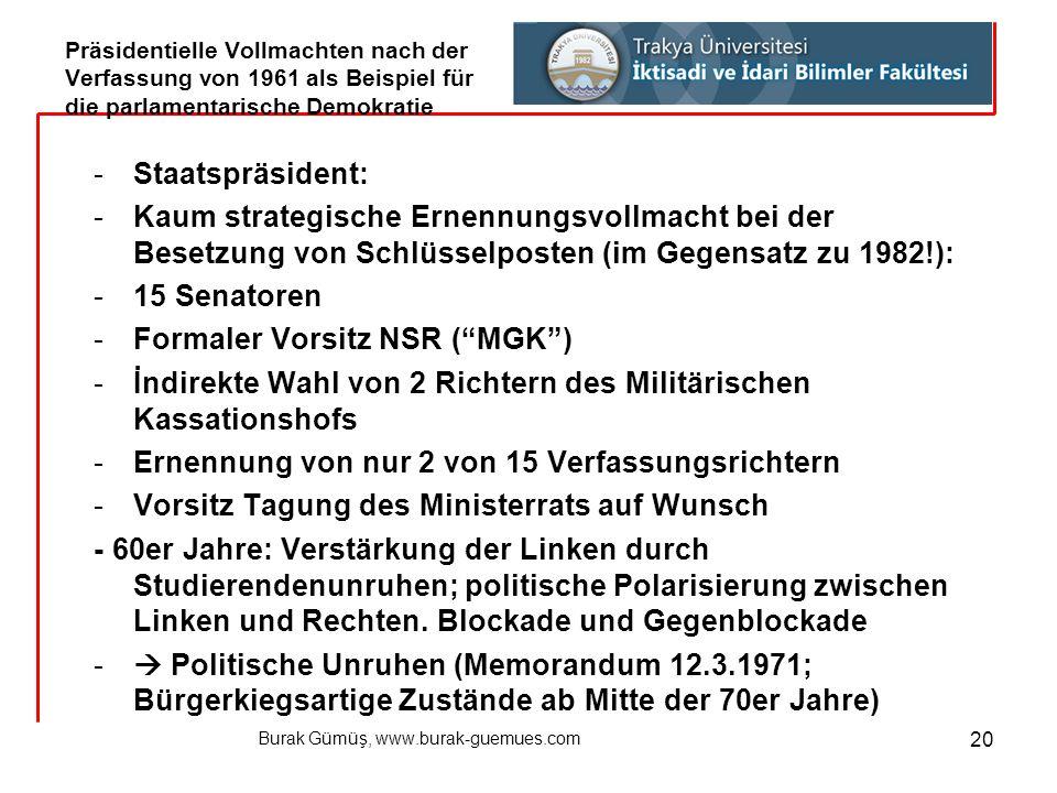 Burak Gümüş, www.burak-guemues.com 20 -Staatspräsident: -Kaum strategische Ernennungsvollmacht bei der Besetzung von Schlüsselposten (im Gegensatz zu