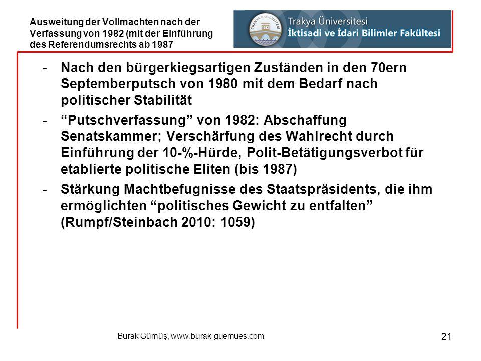 Burak Gümüş, www.burak-guemues.com 21 -Nach den bürgerkiegsartigen Zuständen in den 70ern Septemberputsch von 1980 mit dem Bedarf nach politischer Sta