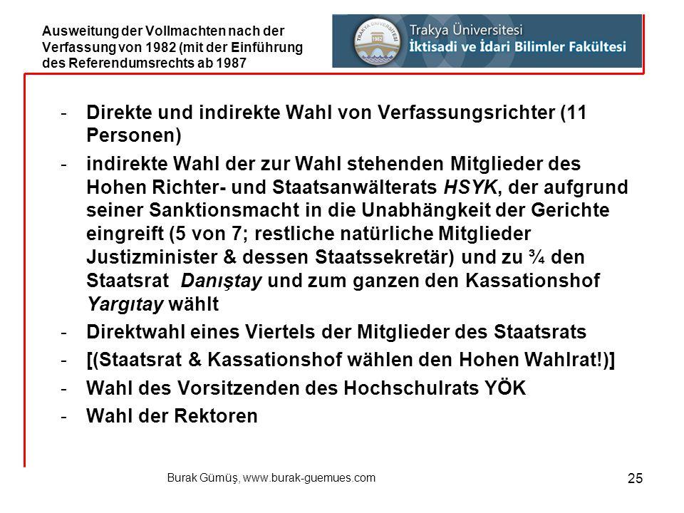 Burak Gümüş, www.burak-guemues.com 25 -Direkte und indirekte Wahl von Verfassungsrichter (11 Personen) -indirekte Wahl der zur Wahl stehenden Mitglied