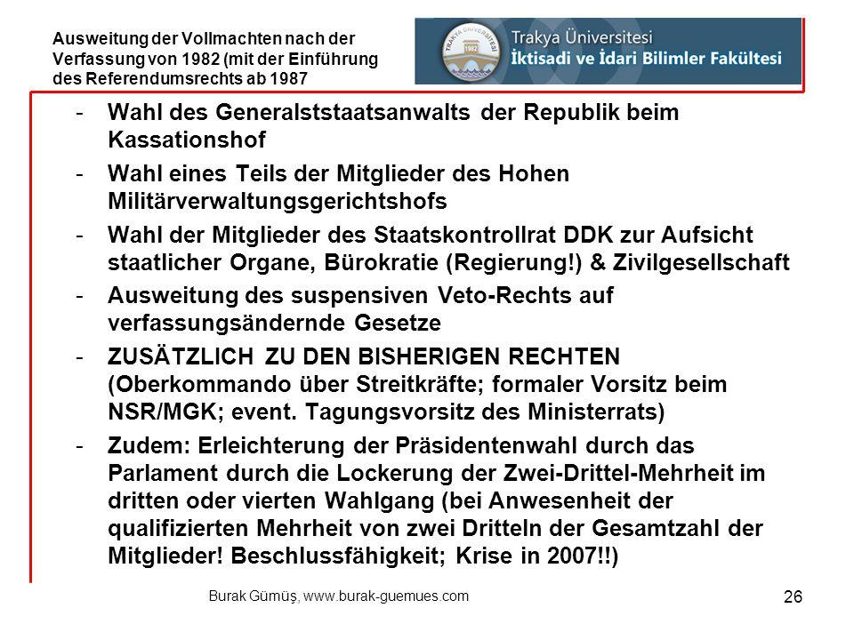 Burak Gümüş, www.burak-guemues.com 26 -Wahl des Generalststaatsanwalts der Republik beim Kassationshof -Wahl eines Teils der Mitglieder des Hohen Mili