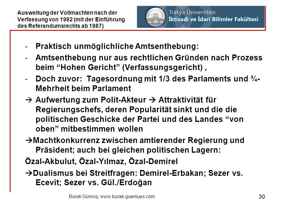 """Burak Gümüş, www.burak-guemues.com 30 -Praktisch unmöglichliche Amtsenthebung: -Amtsenthebung nur aus rechtlichen Gründen nach Prozess beim """"Hohen Ger"""