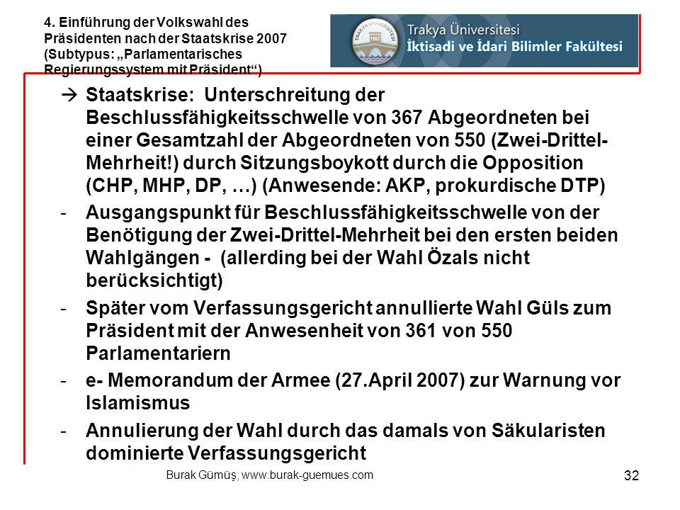 Burak Gümüş, www.burak-guemues.com 32  Staatskrise: Unterschreitung der Beschlussfähigkeitsschwelle von 367 Abgeordneten bei einer Gesamtzahl der Abg