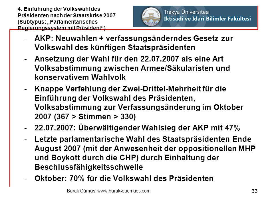 Burak Gümüş, www.burak-guemues.com 33 -AKP: Neuwahlen + verfassungsänderndes Gesetz zur Volkswahl des künftigen Staatspräsidenten -Ansetzung der Wahl