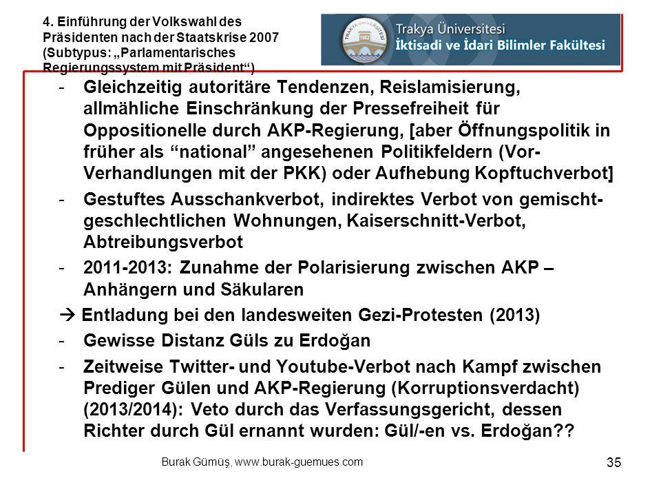 Burak Gümüş, www.burak-guemues.com 35 -Gleichzeitig autoritäre Tendenzen, Reislamisierung, allmähliche Einschränkung der Pressefreiheit für Opposition