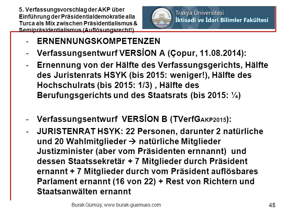 Burak Gümüş, www.burak-guemues.com 45 -ERNENNUNGSKOMPETENZEN -Verfassungsentwurf VERSİON A (Çopur, 11.08.2014): -Ernennung von der Hälfte des Verfassu