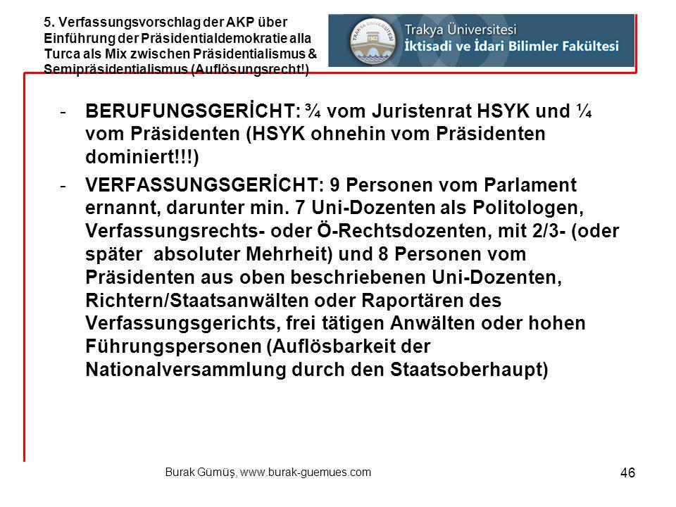 Burak Gümüş, www.burak-guemues.com 46 -BERUFUNGSGERİCHT: ¾ vom Juristenrat HSYK und ¼ vom Präsidenten (HSYK ohnehin vom Präsidenten dominiert!!!) -VER
