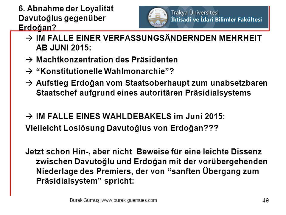 """Burak Gümüş, www.burak-guemues.com 49  IM FALLE EINER VERFASSUNGSÄNDERNDEN MEHRHEIT AB JUNI 2015:  Machtkonzentration des Präsidenten  """"Konstitutio"""