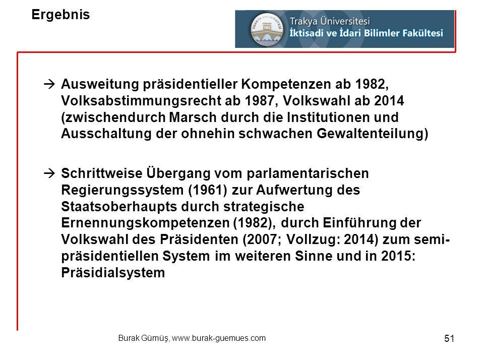 Burak Gümüş, www.burak-guemues.com 51  Ausweitung präsidentieller Kompetenzen ab 1982, Volksabstimmungsrecht ab 1987, Volkswahl ab 2014 (zwischendurc