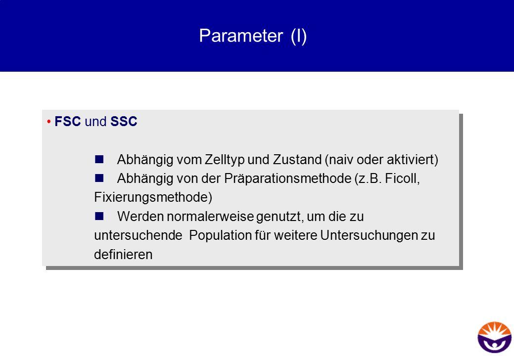 Parameter (I) FSC und SSC  Abhängig vom Zelltyp und Zustand (naiv oder aktiviert)  Abhängig von der Präparationsmethode (z.B. Ficoll, Fixierungsmeth