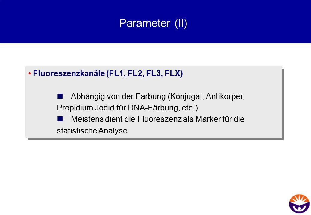 Parameter (II) Fluoreszenzkanäle (FL1, FL2, FL3, FLX)  Abhängig von der Färbung (Konjugat, Antikörper, Propidium Jodid für DNA-Färbung, etc.)  Meist
