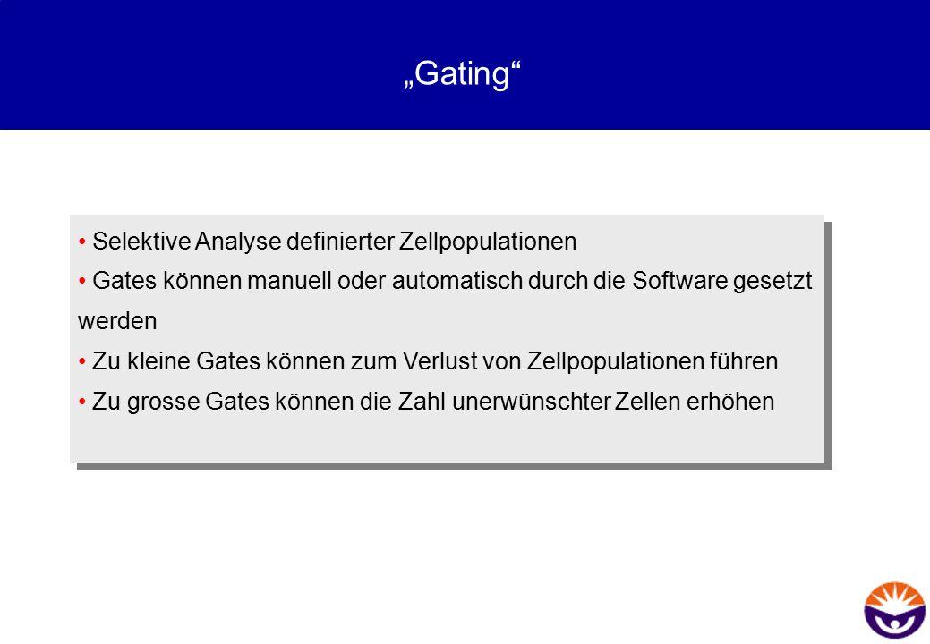 """""""Gating"""" Selektive Analyse definierter Zellpopulationen Gates können manuell oder automatisch durch die Software gesetzt werden Zu kleine Gates können"""