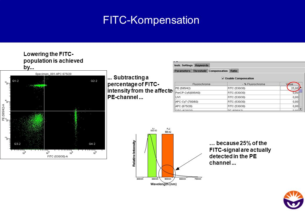 Lowering the FITC- population is achieved by...... Subtracting a percentage of FITC- intensity from the affected PE-channel... 650nm700nm500nm550nm600