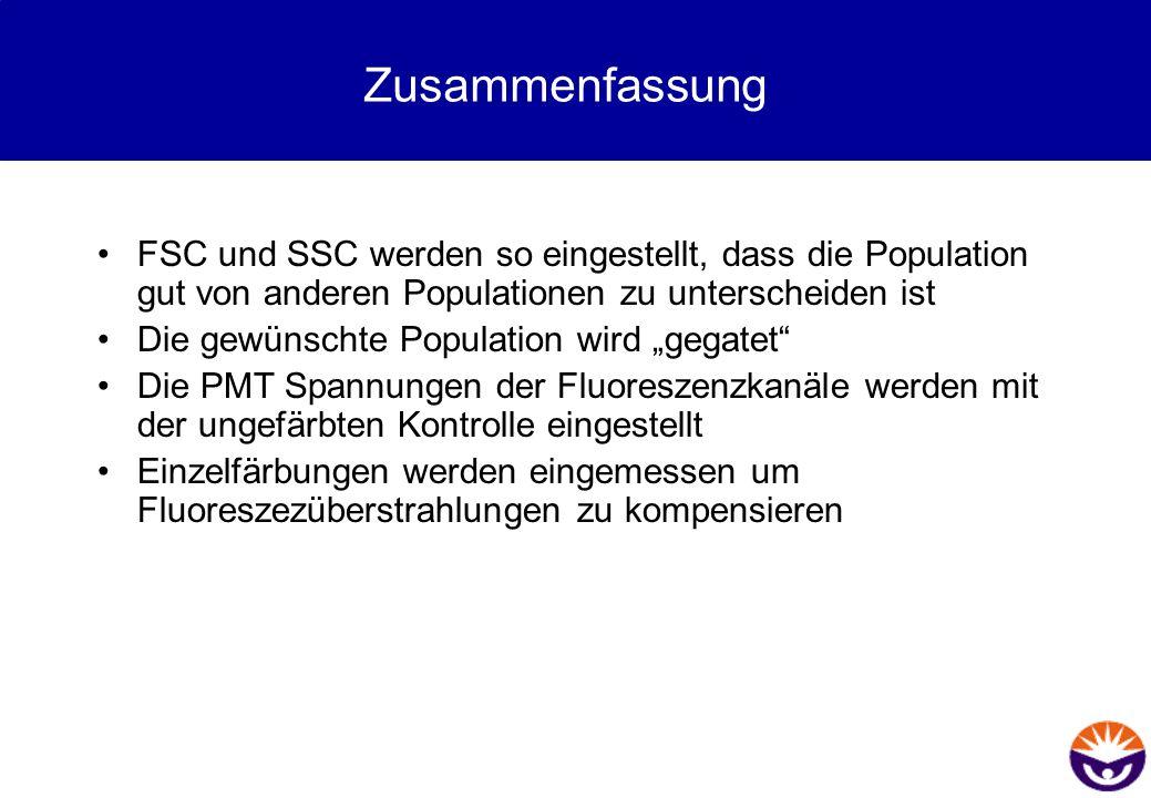 Zusammenfassung FSC und SSC werden so eingestellt, dass die Population gut von anderen Populationen zu unterscheiden ist Die gewünschte Population wir
