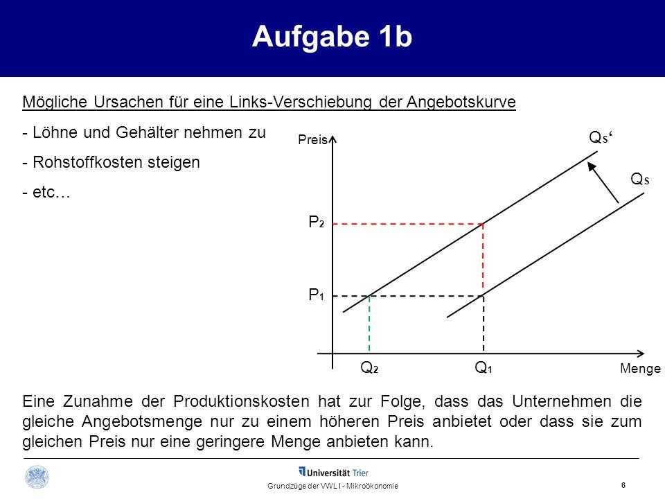 Aufgabe 1b 7 Grundzüge der VWL I - Mikroökonomie Merke Reaktionen der angebotenen Menge auf Veränderungen des Preises werden durch Bewegungen entlang der Angebotskurve dargestellt.