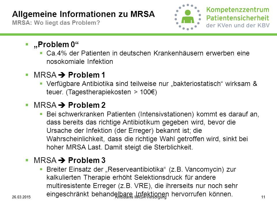 """26.03.2015Ambulante MRSA-Versorgung1126.03.2015Ambulante MRSA-Versorgung11  """"Problem 0""""  Ca.4% der Patienten in deutschen Krankenhäusern erwerben ei"""