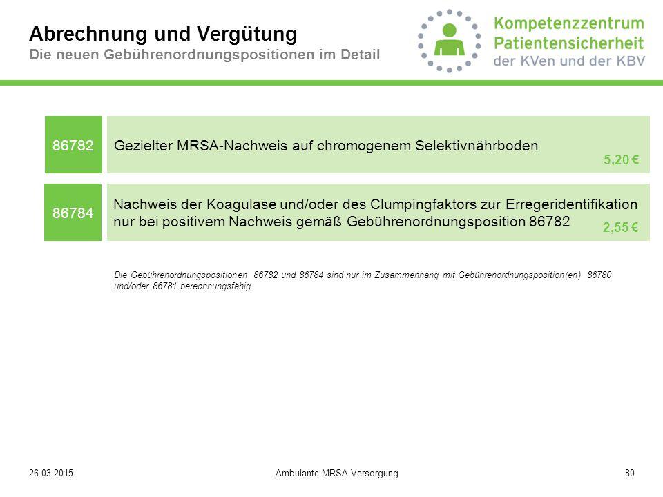 26.03.2015Ambulante MRSA-Versorgung80 Abrechnung und Vergütung Die neuen Gebührenordnungspositionen im Detail Gezielter MRSA-Nachweis auf chromogenem