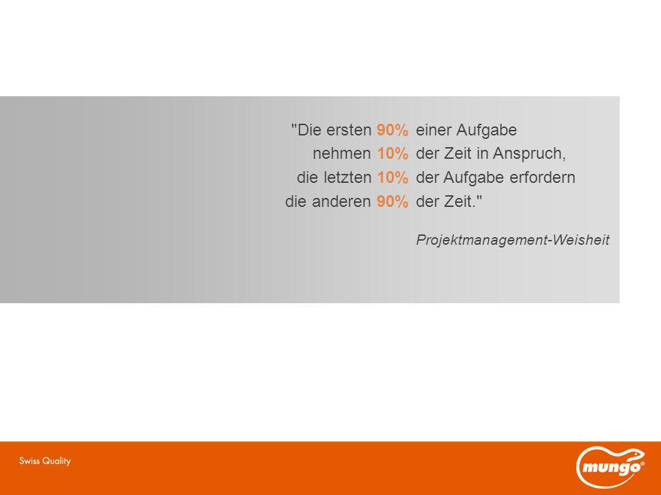Die ersten 90% einer Aufgabe nehmen 10% der Zeit in Anspruch, die letzten 10% der Aufgabe erfordern die anderen 90% der Zeit. Projektmanagement-Weisheit