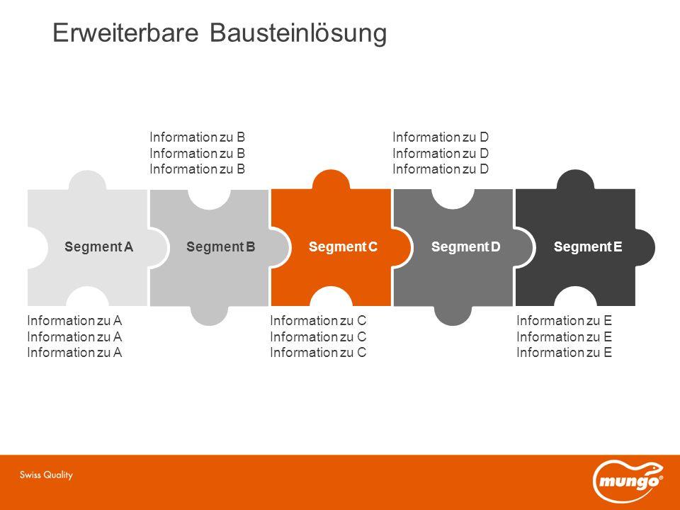 Segment ASegment BSegment CSegment DSegment E Information zu A Information zu C Information zu E Information zu B Information zu D Erweiterbare Bausteinlösung