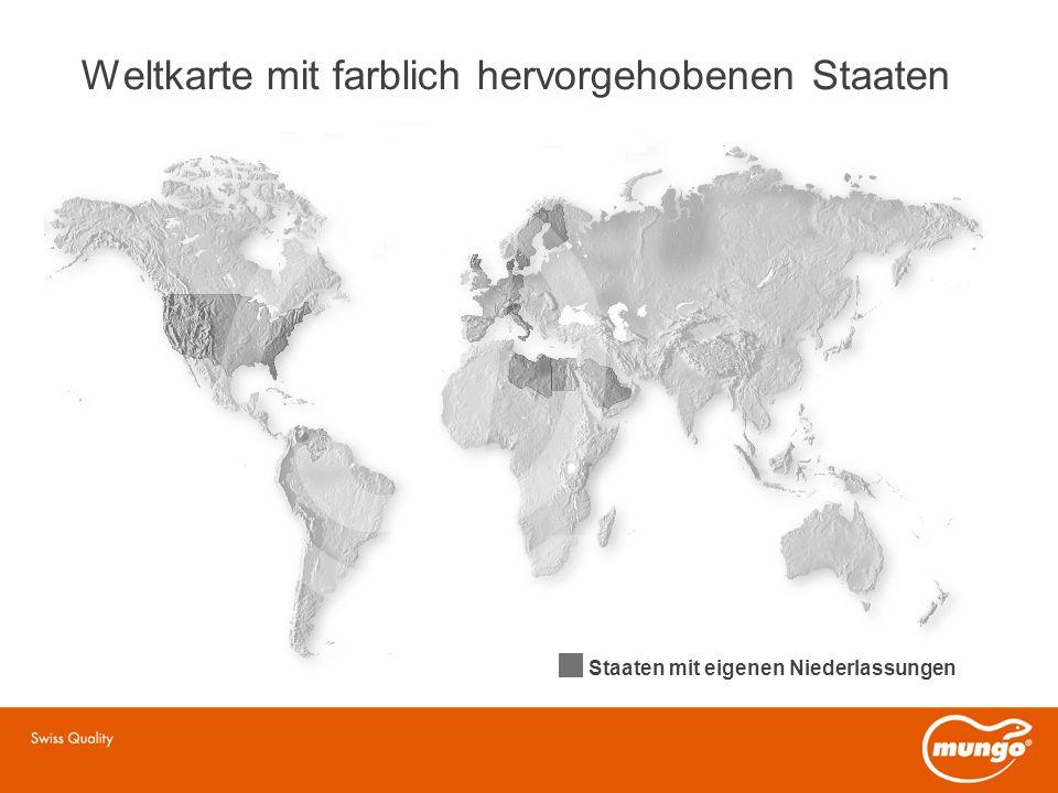 Weltkarte mit farblich hervorgehobenen Staaten Staaten mit eigenen Niederlassungen