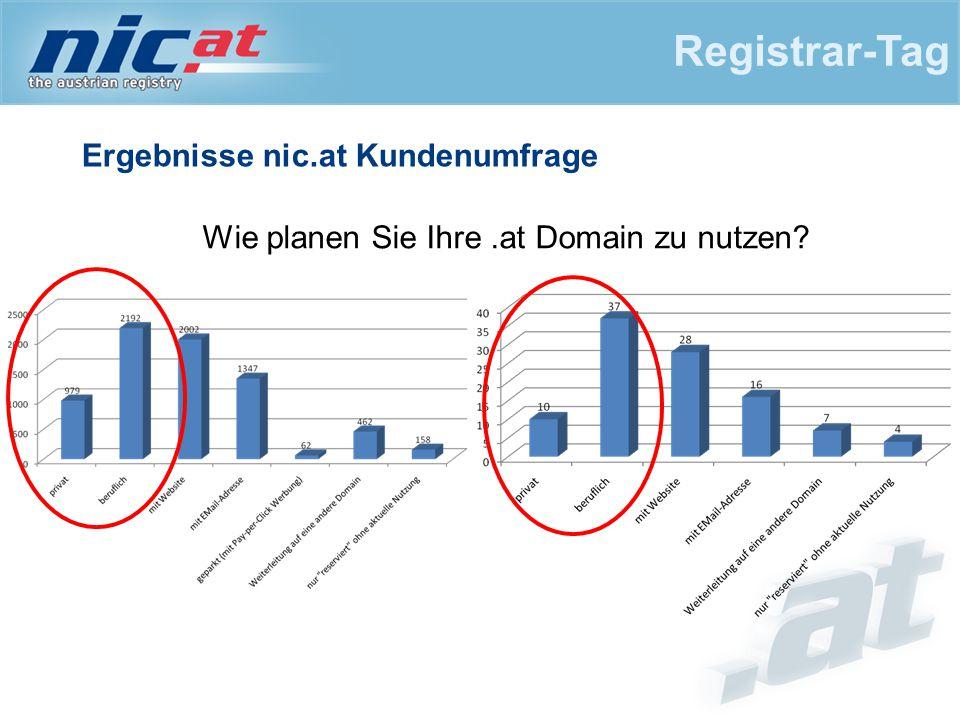 Ergebnisse nic.at Kundenumfrage Registrar-Tag Wie planen Sie Ihre.at Domain zu nutzen