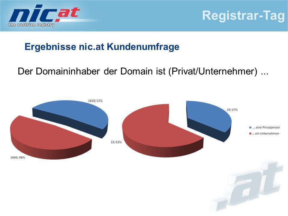 Ergebnisse nic.at Kundenumfrage Registrar-Tag Der Domaininhaber der Domain ist (Privat/Unternehmer)...