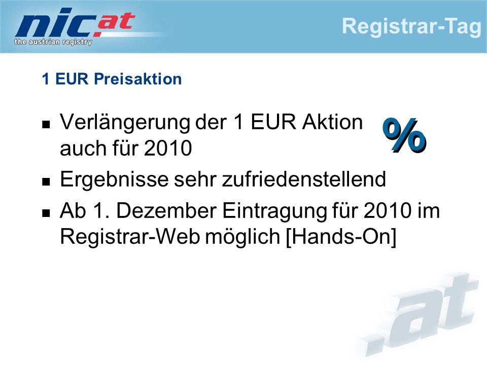 1 EUR Preisaktion Verlängerung der 1 EUR Aktion auch für 2010 Ergebnisse sehr zufriedenstellend Ab 1. Dezember Eintragung für 2010 im Registrar-Web mö