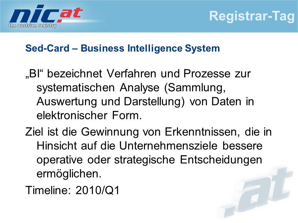 """Sed-Card – Business Intelligence System """"BI bezeichnet Verfahren und Prozesse zur systematischen Analyse (Sammlung, Auswertung und Darstellung) von Daten in elektronischer Form."""