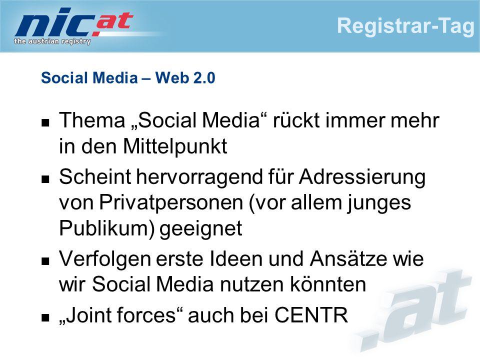 """Social Media – Web 2.0 Thema """"Social Media rückt immer mehr in den Mittelpunkt Scheint hervorragend für Adressierung von Privatpersonen (vor allem junges Publikum) geeignet Verfolgen erste Ideen und Ansätze wie wir Social Media nutzen könnten """"Joint forces auch bei CENTR Registrar-Tag"""