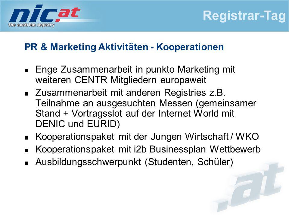 PR & Marketing Aktivitäten - Kooperationen Enge Zusammenarbeit in punkto Marketing mit weiteren CENTR Mitgliedern europaweit Zusammenarbeit mit anderen Registries z.B.