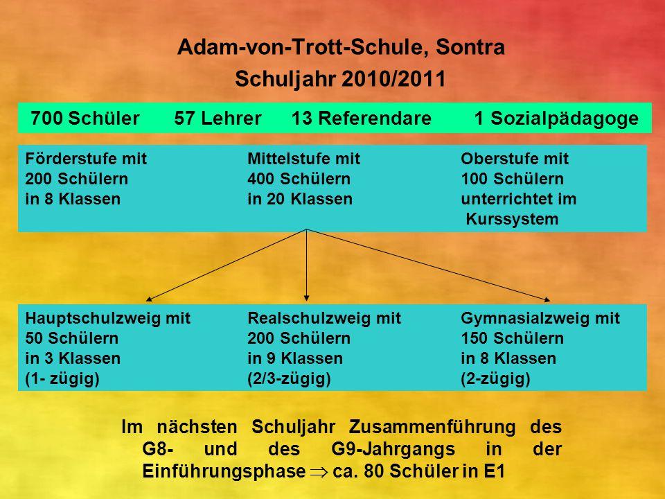 Adam-von-Trott-Schule, Sontra Schuljahr 2010/2011 Im nächsten Schuljahr Zusammenführung des G8- und des G9-Jahrgangs in der Einführungsphase  ca. 80