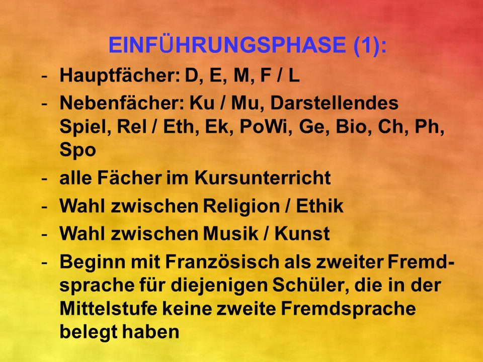 EINF Ü HRUNGSPHASE (1): -Hauptfächer: D, E, M, F / L -Nebenfächer: Ku / Mu, Darstellendes Spiel, Rel / Eth, Ek, PoWi, Ge, Bio, Ch, Ph, Spo -alle Fäche