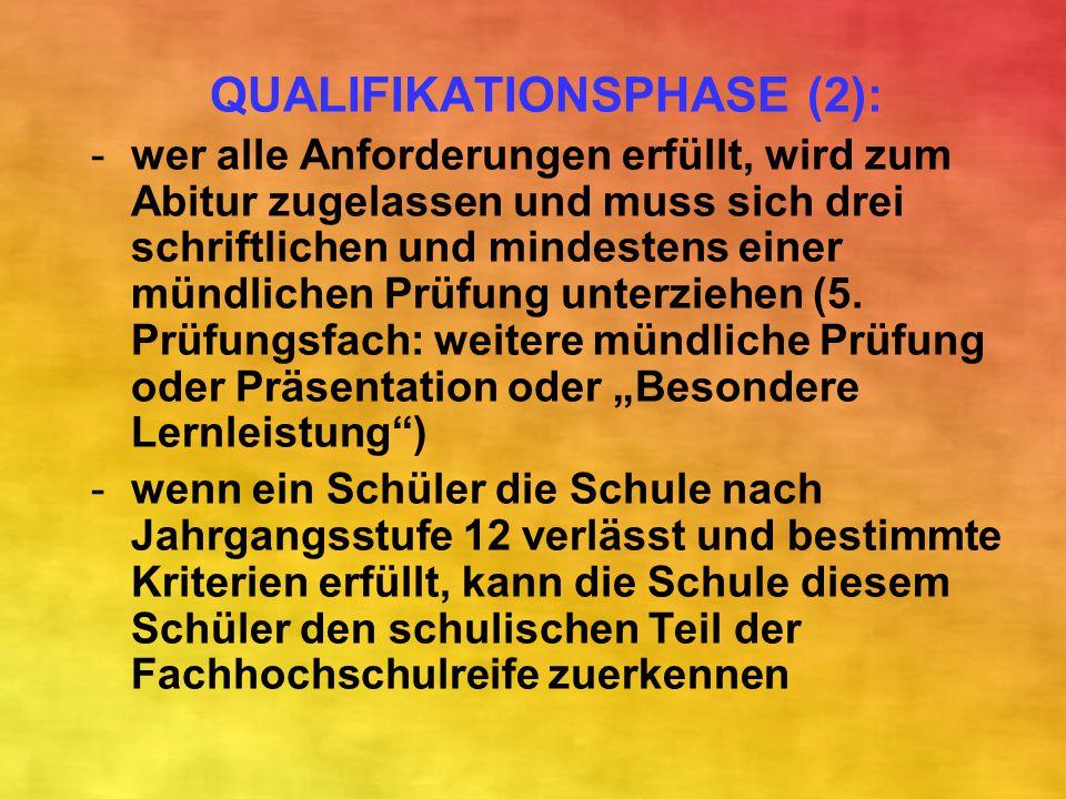 QUALIFIKATIONSPHASE (2): -wer alle Anforderungen erfüllt, wird zum Abitur zugelassen und muss sich drei schriftlichen und mindestens einer mündlichen
