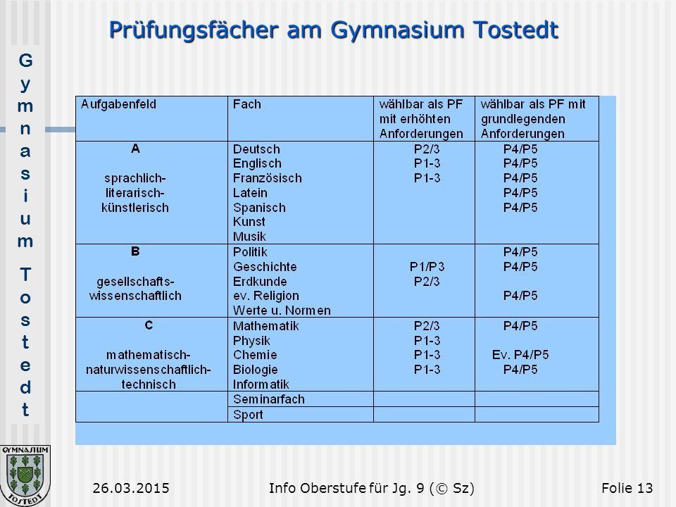 GymnasiumTostedtGymnasiumTostedt 26.03.2015Folie 13 Prüfungsfächer am Gymnasium Tostedt Info Oberstufe für Jg. 9 (© Sz)